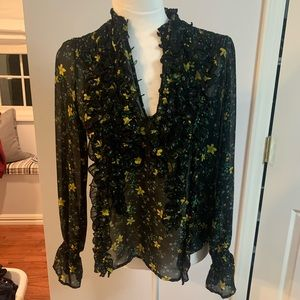 Zara Sheer Floral Blouse Black Size Small